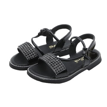 Girls Pure Color Sequined Sandals