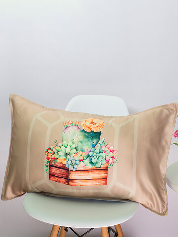Cacti Succulent Silk Fabric Cushion Cover