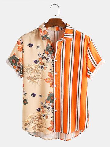 風景画ストライプパッチワークシャツ