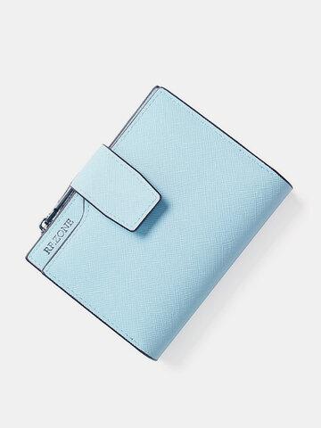 Women Multifunction Pocket Short Wallet PU Leather Zipper Coin Bag