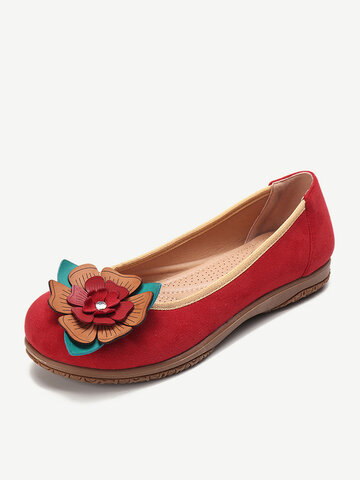Women Suede Flower Comfort Loafers