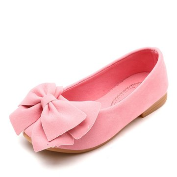 Girls Suede Bowknot Lazy Flat Shoes