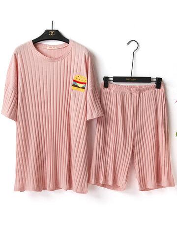 Pyjama ample à rayures en coton