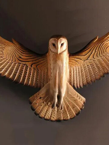 1 PC Retro Owl Wall Statue Resin Handmade Crafts Wall Hanging Ornament for Living Room Garden Office Decoration