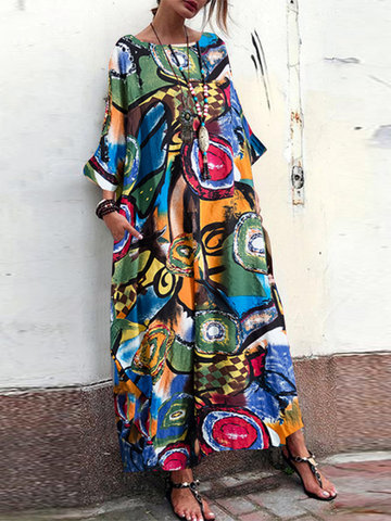 Bohmian Print Bat Sleeve Baggy Maxi Dress