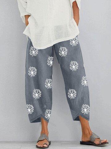 Printed Elastic Waist Pants