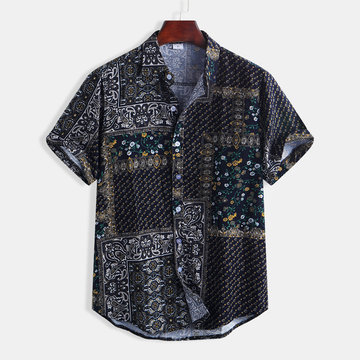 Mens Floral Printing Ethnic Style Cotton Short Sleeve Shirts