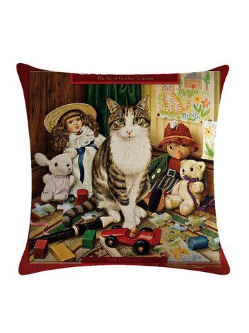 Cute Cat Printed Cat Cushion Cover Cotton Linen Throw Pillow Home Sofa Decoration Decorative Pillowcase