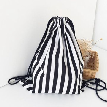 Black and White Stripes Drawstring Backpack