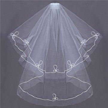 2 طبقات العروس الكوع حافة الزفاف بروم الزفاف الأبيض الحجاب مع مشط