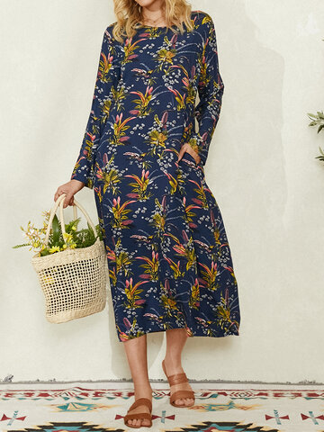 Floral Print O-neck Long Sleeve Plus Size Long Dress for Women