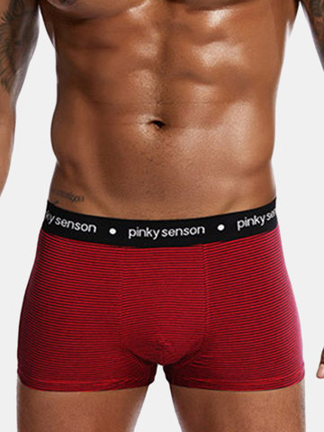 95%Cotton Breathable Striped Pouch Boxers, Red dark gray gray