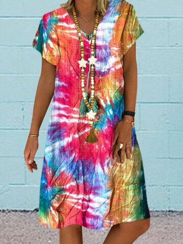 Multi-color Printed Midi Dress
