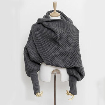 Women Warm Knitted Solid Scarves With Sleeves