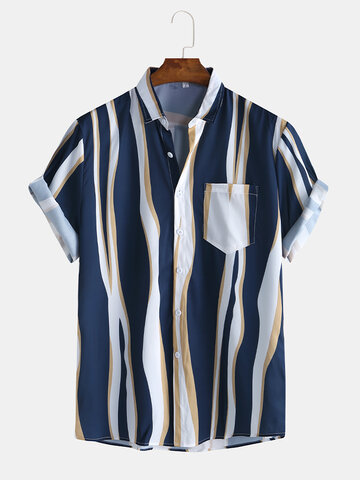 Plain Color Striola Chest Pocket Shirts