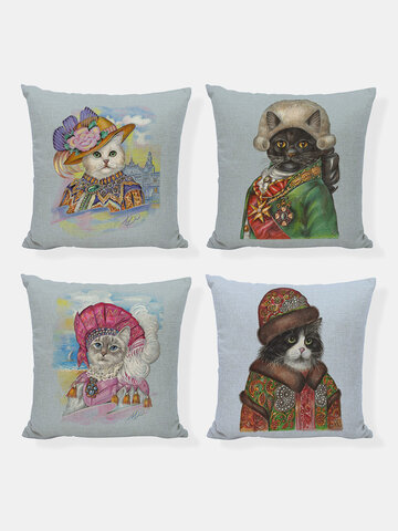 4PCS Dog Cat Animal Cosplay Role Playing Pattern Personification Noble Funny Creative Linen Cushion Cover Home Sofa Couch Car Art Decorative Throw Pillowcase