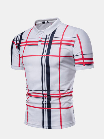 Stylish Line Printed Casual Golf Shirt