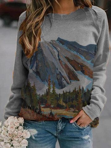Landscape Print Casual Sweatshirt