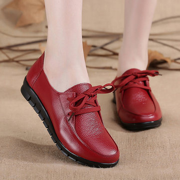 Pure Color Leather Lace Up Flat Soft Casual Shoes For Women