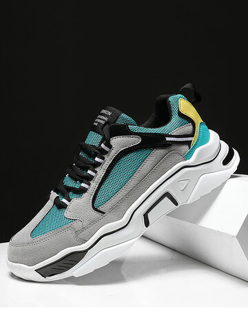 Men Mesh Fabric Sport Chunky Sneakers