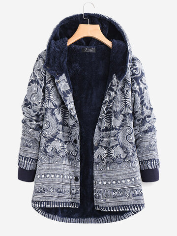 Printed Hooded Pocket Coats