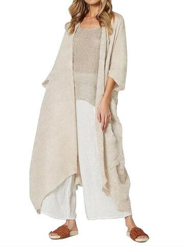 Vintage Solid Color Long Kimono