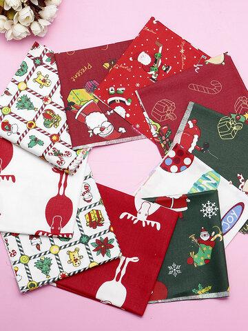 5/10Pcs Cartoon Christmas Series Twill Cotton Fabric DIY Handmade Patchwork Sewing Fabric