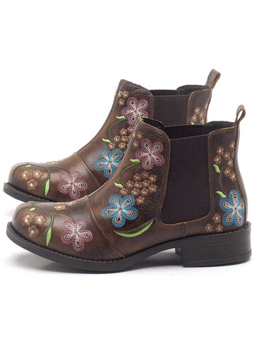 Retro FloraL Embroidery Chelsea Ankle Boots