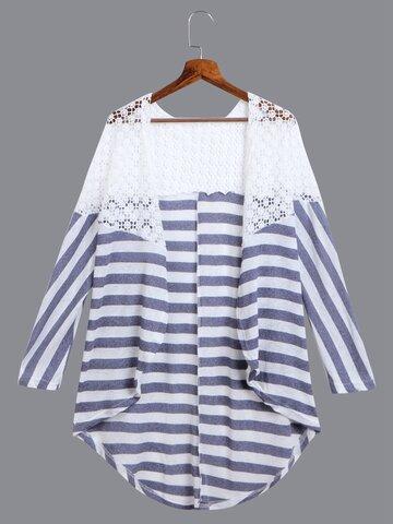 Stripe Lace Stitching Kimonos