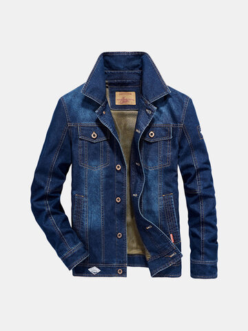 Mens Plus Tamanho Denim Embroidery Letter Bagde Jacket