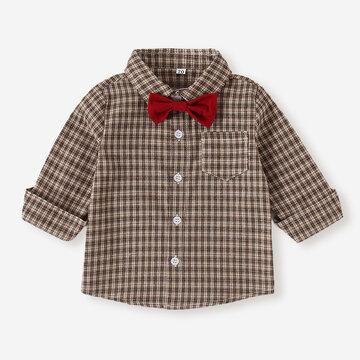 Baby Plaid Print Shirt Blouse For 6-24M