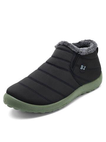 Men Waterproof Letter Slip On Ankle Boots