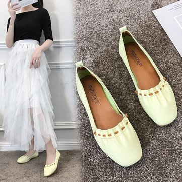 Season New Ins Wild Square Head Shallow Mouth Ladies Single Shoes Net Red Flat Female Shoes Tide Fairy