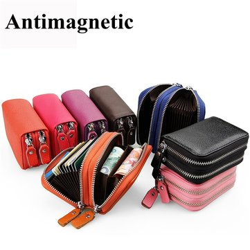 RFID Antimagnetic Women Men Genuine Leather Zipper Purse