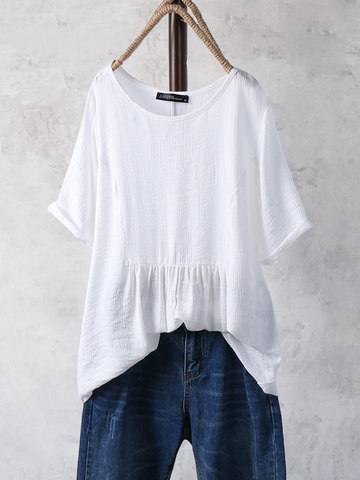 Solid Color Ruffle Pleated Blouse
