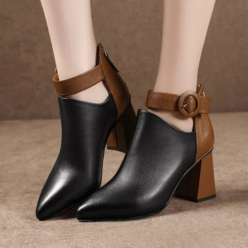 Splicing Pointed Toe Buckle Ankle Boots