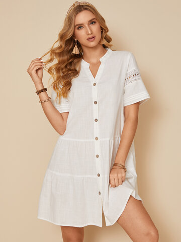 Hollow Out Sleeve Buttons Dress