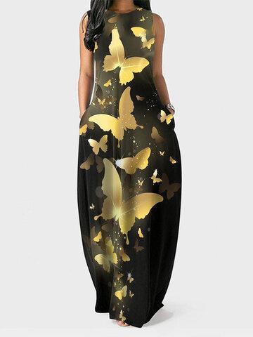 Camiseta sin mangas con estampado de mariposas doradas Vestido