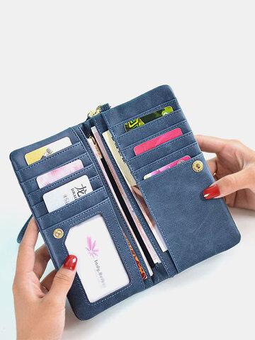 PU Leder Multi-Card Slots Fotokarte Telefon Tasche Geldklammer Geldbörse Geldbeutel