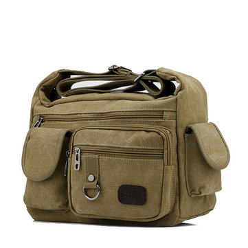 Men Canvas Multi Pocket Patchwork Crossbody Bag Travel Shoulder Bag