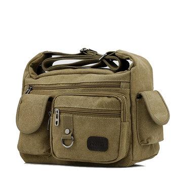 Men Canvas Multi Pocket Patchwork Crossbody Bag Travel Shoulder Bag