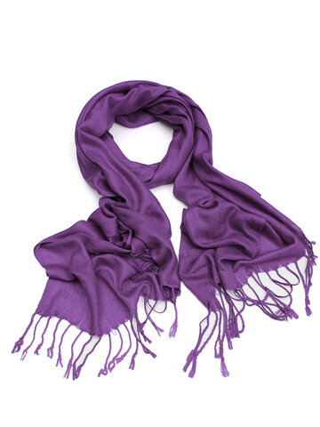 Women Cashmere Artificial Silk Tassel Fringe Shawl Wrap Long Range Scarf
