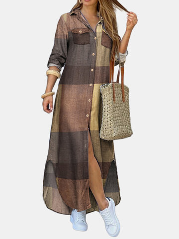 Vintage Plaid Print Lapel Dress