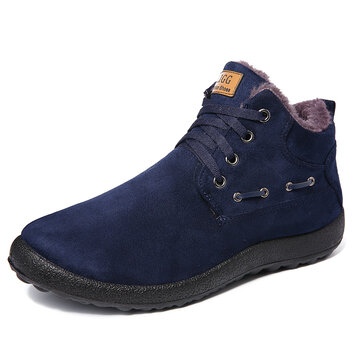 Men Suede Plush Lining Casual Boots, Black blue