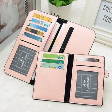 Women PU Leather Ultra Thin Card Slots Wallet Purse