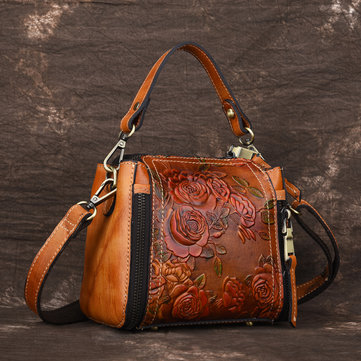 New Retro Genuine Leather Embossed Bucket Handbag