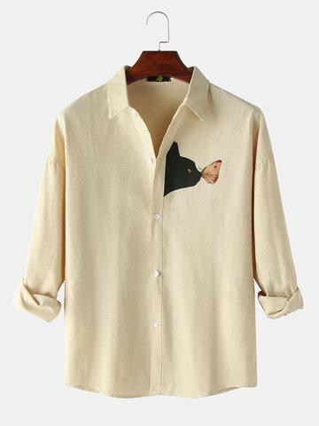 Black Cat Chest Print Plain Shirts