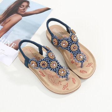 Flowers Rhinestone Decor Flats Sandals