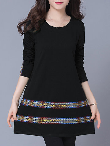 Casual Women Tribal Style Embroidery Striped Long Sleeve Mini Dress