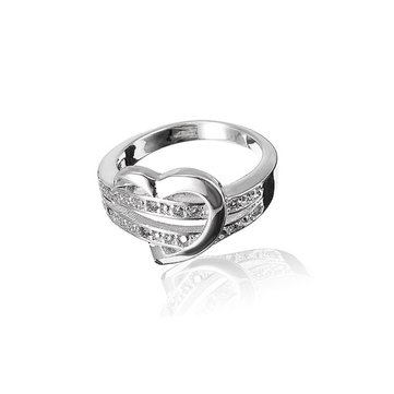Silver Plated Crystal Heart Finger Ring